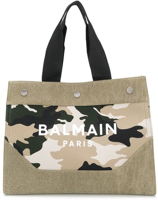Balmain Camouflage-Print Logo Tote Bag