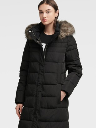 DKNY Maxi Puffer With Removable Hood