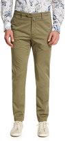 Kiton Flat-Front Chino Trousers, Khaki
