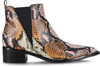 Marc Fisher Yale Snakeskin-Print Leather Booties