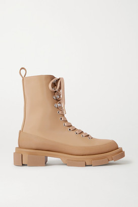 both Gao Lace-up Rubber-trimmed Canvas Platform Ankle Boots - Sand