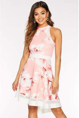 Quiz Coral And Cream Floral High Neck Dip Hem Dress