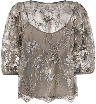 Antonio Marras Beaded Floral Blouse