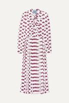 Prada Pussy-bow Pleated Printed Crepe Midi Dress - Pink