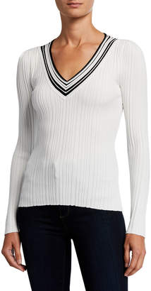Milly Francesca V-Neck Striped-Trim Pullover Sweater