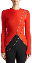Givenchy Chain Asymmetric-Zip Sweater, Red