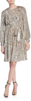 Sachin + Babi Chloe Sequin Jewel-Neck Long-Sleeve Dress