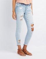 Charlotte Russe Refuge Skinny Crochet Destroyed Jeans