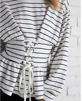 Express striped corset waist sweatshirt