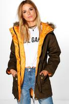 Boohoo Stephanie Faux Fur Trim Parka