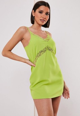 Missguided Lime Lace Insert Cami Dress