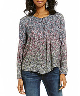 Lucky Brand Round Neck Long Sleeve Floral Print Peasant Blouse