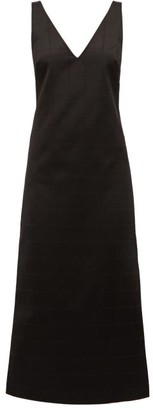 Gabriela Hearst Windowpane-check Cotton-blend Sateen Dress - Black