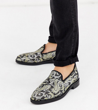 House Of Hounds Wide Fit Styx loafers in black brocade