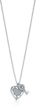 Tiffany & Co. Return to TiffanyTM Love heart tag key pendant in 18k white gold with diamonds