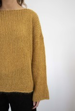 Busby & Fox - Dempsey Sparkle Chunky Knit Round-Neck Sweater - S-M | mustard - Nude/Mustard