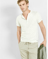 Express slub knit short sleeve henley