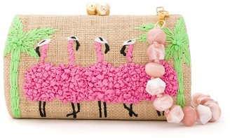 Serpui Marie Flamingo embroidered clutch