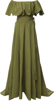 Valentino Belted Off-The-Shoulder Cotton-Blend Gown