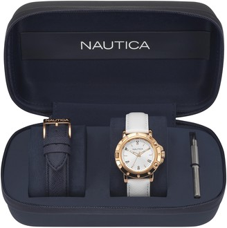 Nautica Women's Analogue Quartz Watch with Leather Strap NAPPRH009