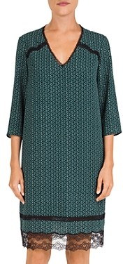 Gerard Darel Danyl Lace Detail Floral Print Dress