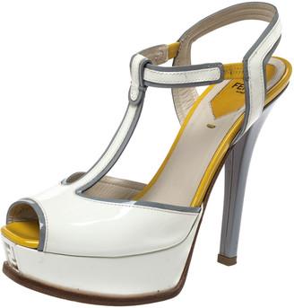 Fendi White Patent Leather T- Strap Fendista Platform Sandals Size 38