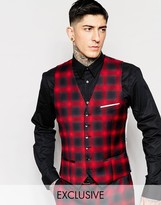 Heart & Dagger Ombre Check Waistcoat In Super Skinny Fit