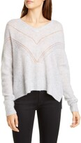 Autumn Cashmere Pointelle Yoke Cashmere & Silk Sweater