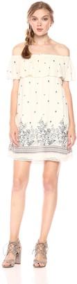 En Creme Women's Printed Off The Shoulder Dress