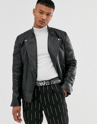 Asos DESIGN leather racer jacket in black with quilted lining