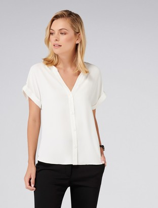 Forever New Eloise Button Front Top - Porcelain - xxs