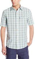 G.H. Bass Men's Short Sleeve Seersucker Small Plaid Shirt