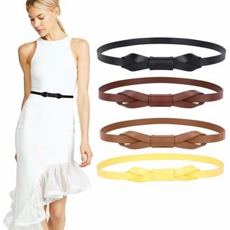 Werforu Skinny Leather Belt Thin Waistband for Women Fashion Leisure Leather Belt Ladies Retro Elegant Waist Belt for Dress 4 Pack (Black Coffee Brown Yellow)