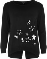 River Island Womens Black knit star embroidered top