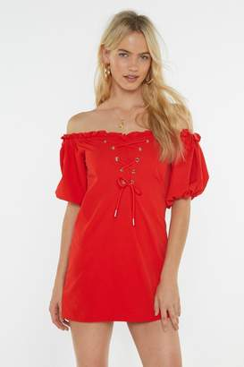 Nasty Gal Womens Hot Damn Off-The-Shoulder Lace-Up Dress - Red - 6, Red