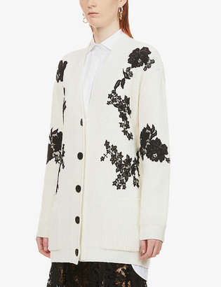 Valentino Floral lace-applique oversized wool-cashmere blend cardigan