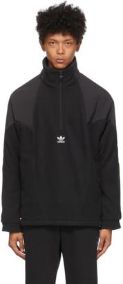 adidas Black Polar Fleece Big Trefoil Half-Zip Track Jacket