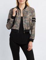 Charlotte Russe Camo Varsity Stripe Bomber Jacket