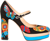 Valentino Japanese Butterfly suede Mary-Jane pumps