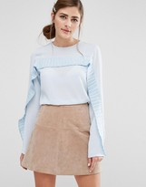 Fashion Union Long Sleeved Top With Pleated Ruffle Trim