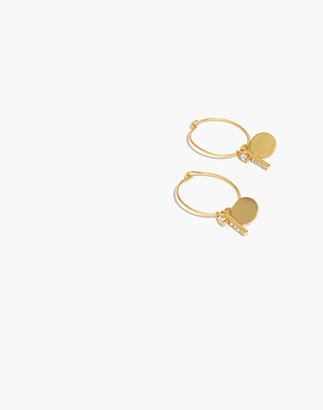 Madewell Pave Mix-and-Match Charm Hoop Earrings