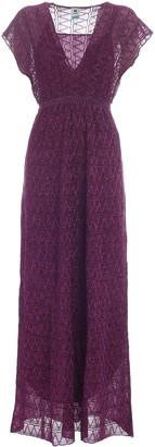 M Missoni Glitter Embroidered V-Neck Maxi Dress