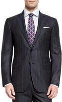 Ermenegildo Zegna Milano Wool Twin-Stripe Two-Piece Suit, Charcoal