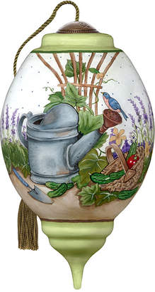 NeQwa Art A Watering Can Garden Scene Hand Painted Blown Glass Ornament