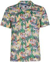 Topman Heron Print Short Sleeve Casual Shirt