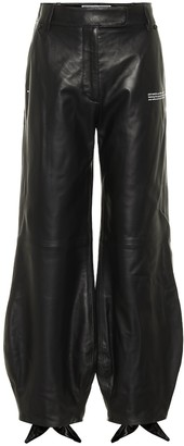 Off-White Bow cuff leather pants