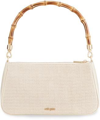 Cult Gaia Halina Raffia Wooden Top Handle Bag