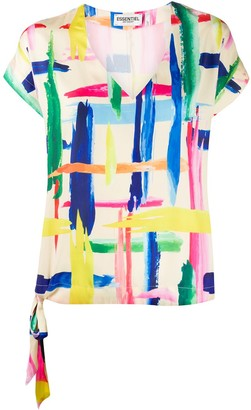 Essentiel Antwerp Veda brush stroke print top