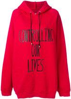 Marios oversized hoodie with printed slogan