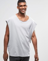 Asos Super Oversized Sleeveless T-Shirt With Dropped Armhole And Raw Scoop Neck In Gray